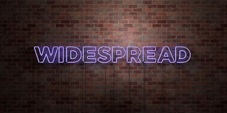 WIDESPREAD - fluorescent Neon tube Sign on brickwork - Front view - 3D rendered royalty free stock picture. Can be used for online banner ads and direct Royalty Free Stock Photo
