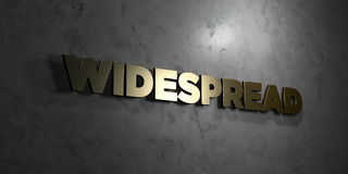 Widespread - Gold text on black background - 3D rendered royalty free stock picture Stock Photos