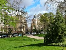 Avenue Foch in Paris, France. On the widest street of Paris - Avenue Foch on a spring sunny afternoon, France Royalty Free Stock Image