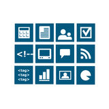 Widget icons vector. Vectored set of web icons for content managing systems and sites, to be used as widget icons for sidebars and templates with utilities and stock illustration