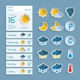 Widgets de papel do tempo ajustados Imagens de Stock Royalty Free