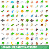 100 widlife sanctuary icons set, isometric style Stock Images