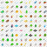 100 widlife sanctuary icons set, isometric style. 100 widlife sanctuary icons set in isometric 3d style for any design vector illustration Stock Illustration