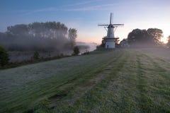 Widmill en Deil en una mañana del froggy fotografía de archivo libre de regalías