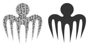 Widmo ośmiornicy mozaika Binarne cyfry royalty ilustracja