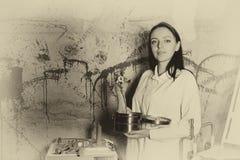 Widmowy monochromatyczny wizerunek kobieta trzyma przecinającego e i rękę fotografia royalty free