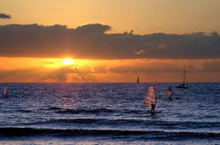 Widnsurfing at sunset. Sunset with winsurfers Royalty Free Stock Photos