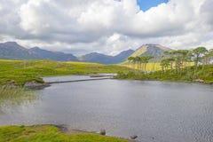 Widok łąki, jeziora i góry region Connemara w Irlandia, fotografia stock