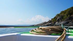 Widok łęk szybka łódź z arkaną Metalu obręcza błyskotliwość fotografia royalty free