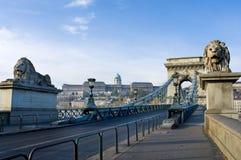 Widok łańcuszkowy most w Budapest Fotografia Stock