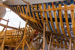 Widok łowić błękitne łodzie w Maroko porcie Obrazy Stock