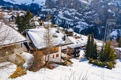 Widok śnieżny Murren Zdjęcia Royalty Free