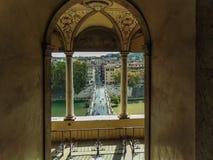 Widok Świątobliwy anioła most i Tiber rzeka od Świątobliwej anioł obsady zdjęcie royalty free