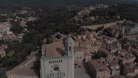 Widok Świątobliwy Felix kościół i katedra Girona catalonia zdjęcie wideo