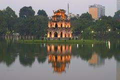 Widok świątynia żółwie w wczesnego wieczór zmierzchu Wietnam obrazy royalty free