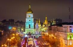 Widok świętego Sophia katedra, UNESCO światowego dziedzictwa miejsce w Kijów, Ukraina obrazy stock