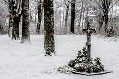 Widok święty krzyż po opad śniegu wśród drzew zdjęcie royalty free