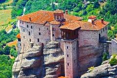 Widok Święty monaster St Barbara greece meteora obraz stock