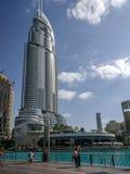 Widok adresu hotel, sławny punkt zwrotny w W centrum Dubaj obok Dubaj centrum handlowego zdjęcia stock