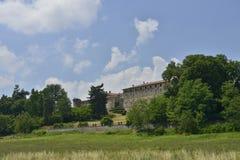 Widok Agazzano kasztel, Piacenza wzgórza Fotografia Stock