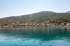 Widok Agia Effimia wioska na Kefalonia Zdjęcie Royalty Free