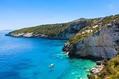 Widok Agios Nikolaos błękita jamy w Zakynthos Zante wyspie, Fotografia Stock