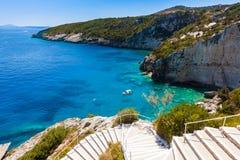 Widok Agios Nikolaos błękita jamy w Zakynthos Zante wyspie, Zdjęcia Royalty Free