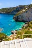 Widok Agios Nikolaos błękita jamy w Zakynthos Zante wyspie, Fotografia Royalty Free