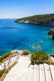 Widok Agios Nikolaos błękita jamy w Zakynthos Zante wyspie, Obrazy Royalty Free