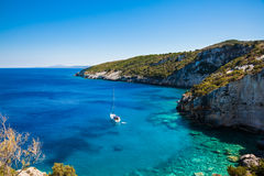 Widok Agios Nikolaos błękita jamy w Zakynthos Zante wyspie, Obraz Royalty Free