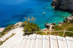 Widok Agios Nikolaos błękita jamy w Zakynthos Zante wyspie, Zdjęcie Stock