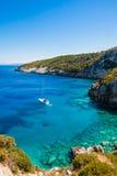 Widok Agios Nikolaos błękita jamy w Zakynthos Zante wyspie, Zdjęcia Stock