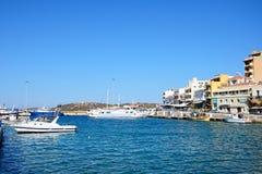 Widok Agios Nikolaos schronienie, Crete Fotografia Stock