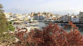 Widok Agios Nikolaos w Crete wyspie Grecja Fotografia Royalty Free