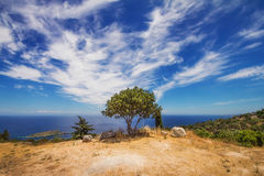 Widok Agios Nikolaos zatoka od Askos, Zakynthos wyspa Obraz Stock