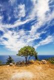 Widok Agios Nikolaos zatoka od Askos, Zakynthos wyspa Fotografia Stock