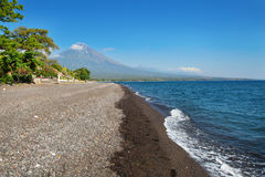 Widok Agung wulkan od Amed wioski, Bali Obrazy Royalty Free