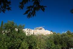 Widok akropol ściana i Parthenon obrazy stock