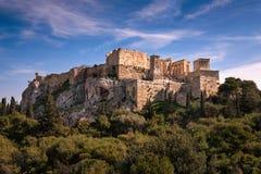 Widok akropol od areopagu wzgórza, Ateny, Grecja Zdjęcie Stock