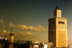 Widok al meczet i linia horyzontu Tunis przy świtem Zdjęcia Royalty Free