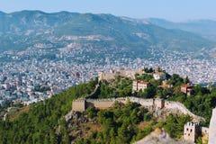 Widok Alanya kasztel i miasto od wysokiego punktu teren Alanya, Turcja Zdjęcie Royalty Free