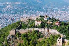 Widok Alanya kasztel i miasto od wysokiego punktu teren Alanya, Turcja Obraz Stock