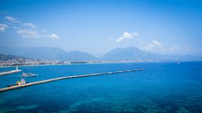 Widok Alanya port Turcja i denny wybrzeże Obraz Stock