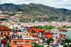 Widok Alanya schronienie i miasto zdjęcia stock