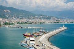 Widok Alanya schronienie przed zmierzchem Piękny morze krajobraz Alanya kasztel w Antalya okręgu, Turcja Fotografia Stock
