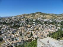 Widok Albaycin w Granada od Alhambra Zdjęcie Stock