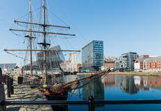 Widok Albert dok i Trzy graci buduje w Liverpool Fotografia Stock