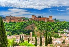 Widok Alhambra od Albayzin, Granada, Andalusia, Hiszpania zdjęcie royalty free