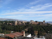 Widok Alhambra od Mirador De San Nicolas w Granada Obraz Royalty Free