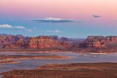 Widok Alstrom punkt, Jeziorny Powell, strona, Arizona, zlani stany Obrazy Stock